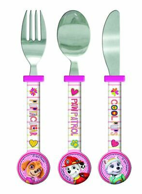 Paw Patrol Girls Pink Cutlery Set - Plastic, 3 Pieces Fork - Spoon, Knife