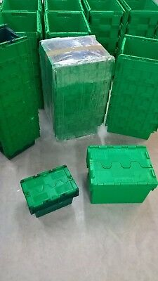 Used 5 x 20L Heavy Duty Plastic Storage Box Boxes Folding Attached Lids Free P&P