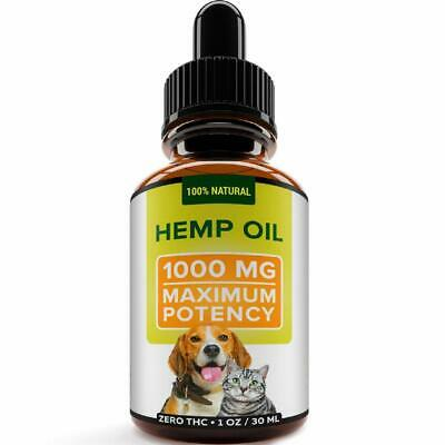 Hemp Oil for Dogs Cats Pets Organic Hip Joint - Anxiety and Pain Relief 1000 mg