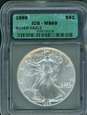 1986 American Silver Eagle ASE S$1 ICG MS69 First Year of Issue BEAUTIFUL !!