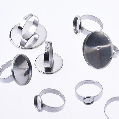 10 Stainless Steel 18mm Round Charms CABOCHON SETTING Bezel Frame Silver chs5768
