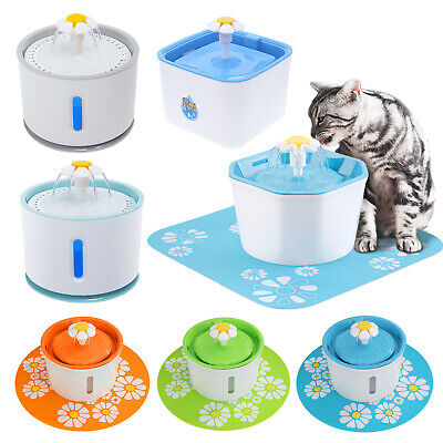 Electric AUTO CAT DOG WATER DRINKING FLOWER FOUNTAIN USB PET DRINK DISH FILTER