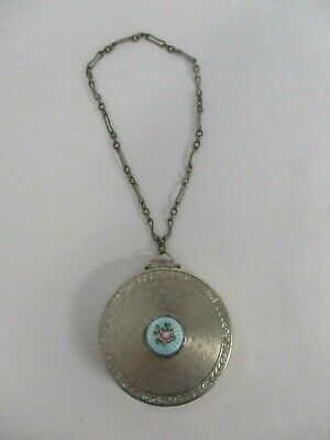 ANTIQUE COMPACT w BLUE GUILLOCHE ENAMEL ROSE with WRIST CHAIN
