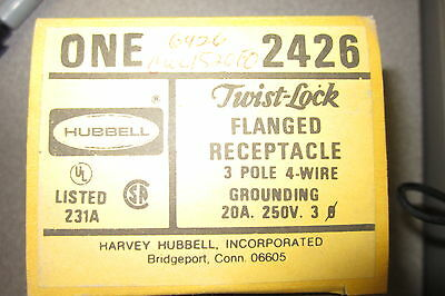 New Hubbell 2426 Flanged Receptacle