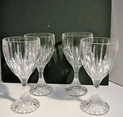 Stunning Mikasa Crystal Park Lane Lot Of 4 Wine Water Goblet Glasses 6 3/4""