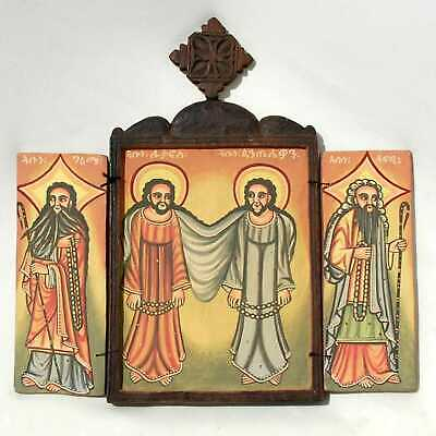 Ethiopian Coptic Christian Orthodox Wood Icon Triptych Painted Handmade African