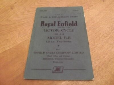 Royal Enfield Motor Cycle 1951-53 Model R.E. 125c.c-Spare & Replacment Part Book