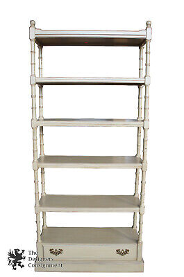 Ethan Allen Georgian Court Faux Bamboo Shabby Painted Bookcase Etagere 11-9206