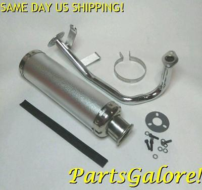 Silver Aluminum Performance Exhaust System GY6 50cc 60cc 80cc 100cc Scooter