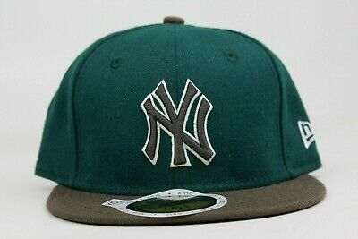 New York Yankees Green Brown White KIDS New Era 59Fifty Fitted Hat Cap NY Custom