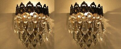 Pair of Antique Vintage Basket Style Crystal Wall Sconces Aplique  1940's.7 in.