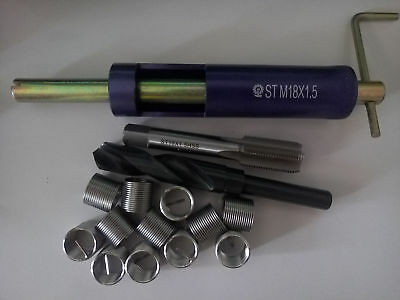 1Set M18 x 1.5 Thread Repair Kit Tap and Drill bit Helicoil Insert tool New