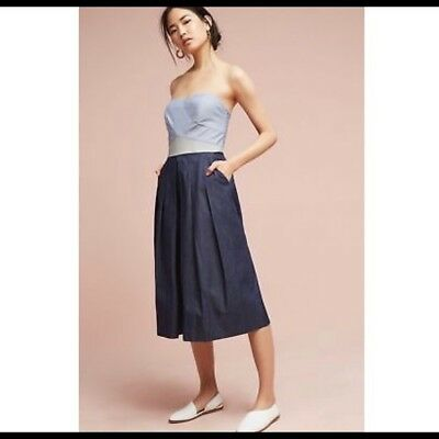 Anthropologie Elevenses Women's Mirabelle Culotte Jumpsuit Chambray Blue Size 4