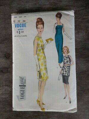 Vintage Vogue Special Design Pattern Sheath Dress & Tunic Size 12 1960s UNCUT