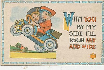 C5431 1910 Postcard Comic Humour Children In Old Automobile