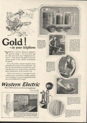 1923 Western Electric Telephone Gold Home Decor Wire  Ad 9151