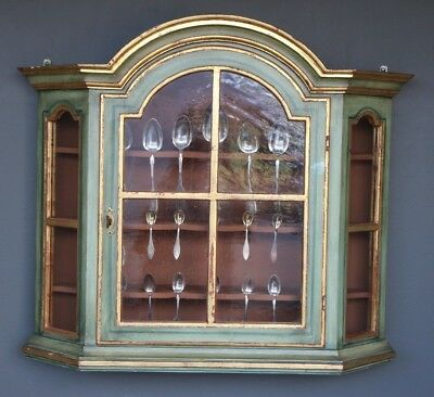 Antique Provincial Gustavian painted spice cabinet water gilt gold glass door