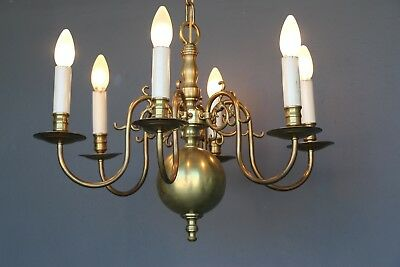 Antique solid brass Dutch chandelier with 6 arms and dragon head scrolls 1930's
