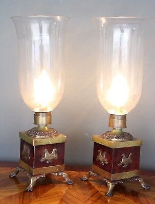 Pair of antique table lamps cast bronze 1880's hand blown original storm shades