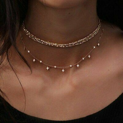 Fashion Multilayer Choker Necklace Crystal Star Chain Gold Women Charm Jewelry