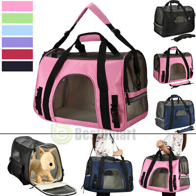 Pet Carrier Soft Sided Large Cat/Dog Comfort Travel Bag Mesh Airline Approved US