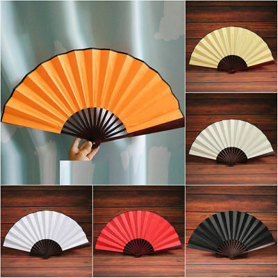 Japanese Dance Party Wedding Silk Bamboo Folding Hand Held Fan Solid Color Fans