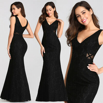 Ever-pretty Long Black Mermaid Evening Gowns Cocktail Prom Gowns Homecoming 7795