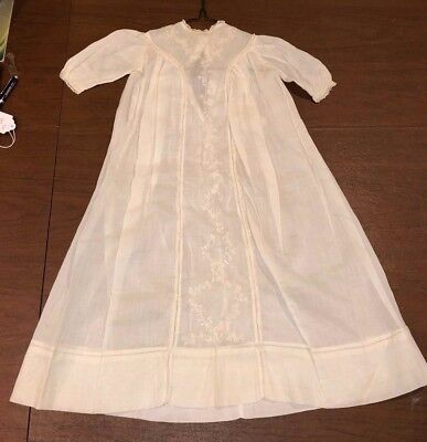 Antique Edwardian Linen Lace Baby Embroidery Christening Gown Baptism Dress