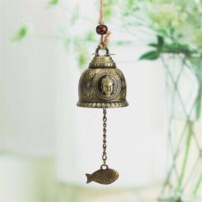 Buddha Statue Pattern Bell Blessing Feng Shui Wind Chime Home Car Hanging Decors