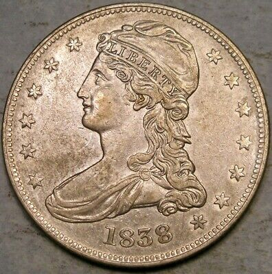 1838 Capped Bust Reeded Edge Silver Half Dollar Gorgeous Very Scarce *gr-9 R.3*