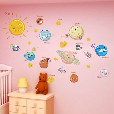 Solar System Wall Stickers Outer Space Planets Poster Mural Kids Bedroom Decors