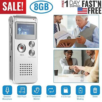 8GB HD Digital Sound Audio Recorder Voice Activated Dictaphone MP3 Player w/ Mic