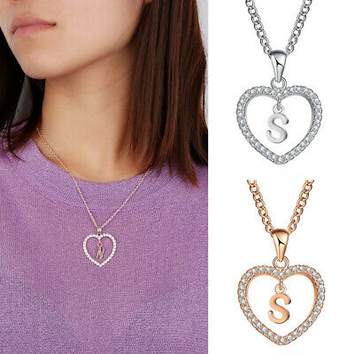 Women Crystal Initial Alphabet Letter A-Z Love Heart Pendant Chain Necklace Gift