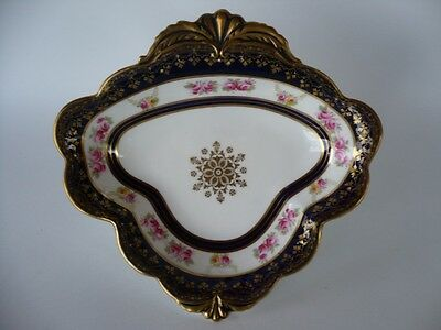 Antique Aynsley Painted Roses & Cobalt Blue Gold Dish