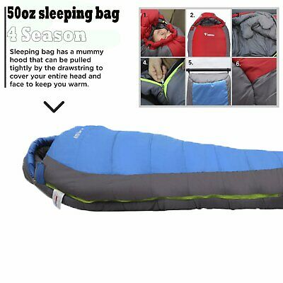 4 Season Single Sleeping Bag 50oz or 60oz in Burgundy or Blue Royal Umbria MI