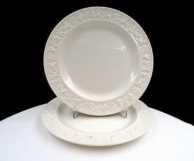"Wedgwood Embossed Queensware Cream On Cream 2 Piece 8 1/8"" Salad Plates"
