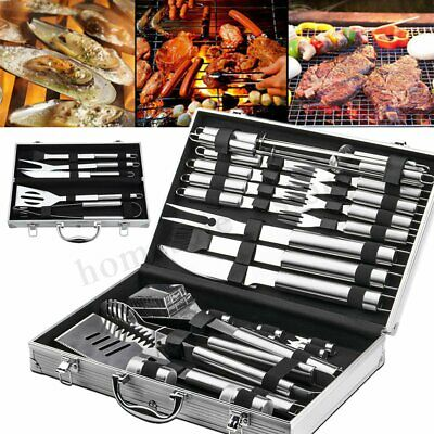 85df9e115f7 5/26Pcs BBQ Tool Set Outdoor Stainless Steel Barbecue Cooking Utensil Grill  Kit