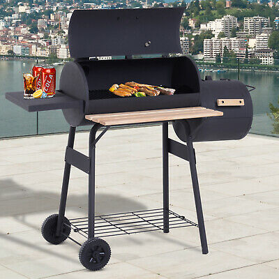 Portable Charcoal BBQ Grill Steel Offset Smoker Combo Backyard