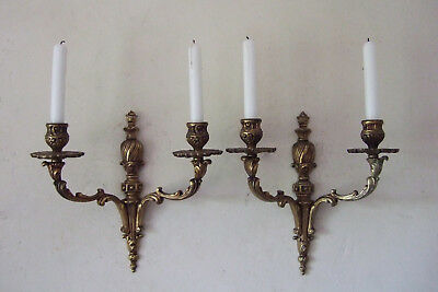 Pair Large Antique French Gilt Bronze Louis Xv 2 Branch Candle Sconces, Lights