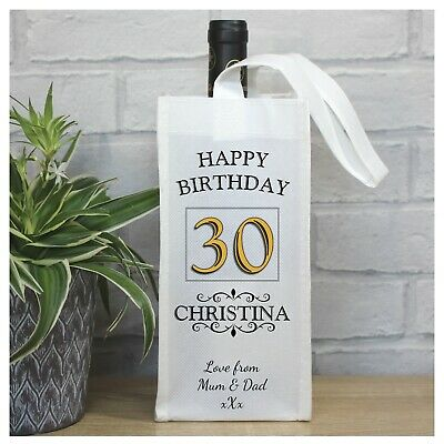 Any Age Personalised Happy Birthday Wine Champagne Bottle Gift Bag N70