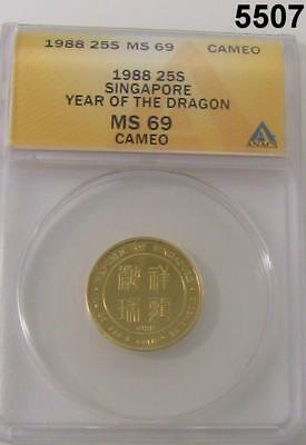 1988 25 Singold Singapore Year Of The Dragon Anacs Certified Ms69 Cameo #5507