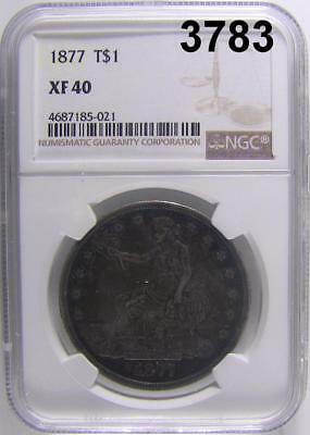 1877 Trade Dollar Ngc Certified Xf 40 Lower Mintage! #3783
