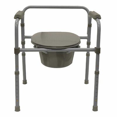 Bios Living Adjustable Deluxe Commode Portable Toilet with Padded Arm Rests