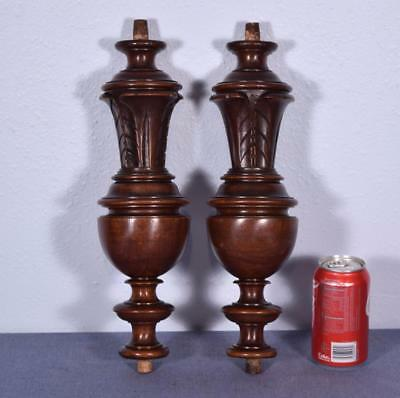 "14"" Pair of French Antique Walnut Wood Posts/Pillars/Columns/Balusters"