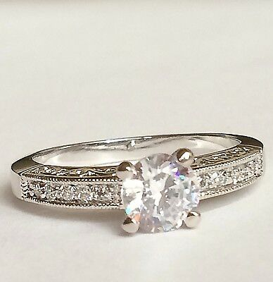 Silver Cubic Zirconia Engagement Ring Size 9 10 Vintage Style Filigree Plated