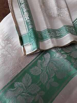 Irish Cotton/Rayon Damask Tablecloth & Napkins Made In Ireland Cream/Green Boxed