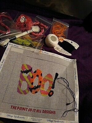 BOO! handpainted Halloween needlepoint canvas from The Point of it All
