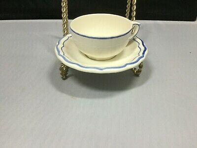 Gien, France Blue and White Tea Cup and Saucer - Filets Bleus