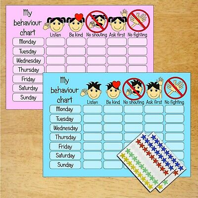 BOY GIRL Re-usable Behaviour Reward Chart Free Stickers Pen PINK & BLUE