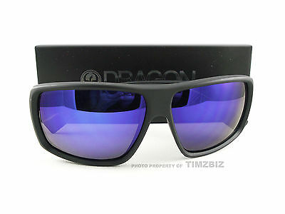 d8a80f9bec New Dragon Alliance Sunglasses Double Dos Matte Black Blue Ion Authentic